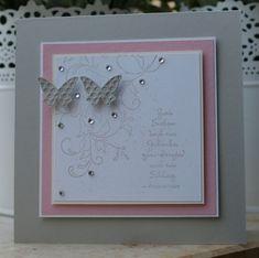 Hochzeitskarten in Rosa, Weiß und Creme.