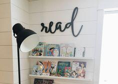 Read Word Wood Cut Wall Art Sign Library School Classroom Nursery Kids Office Home Decor Boho Abstract Design - kinderzimmer Kids Office, Office Playroom, Playroom Ideas, Nursery Office, Basement Ideas, Playroom Furniture, Nursery Ideas, Sunroom Playroom, Modern Playroom