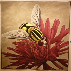 Bee by Inge Mardal and Steen Hougs.  Steen paints hyperrealistic paintings and Inge quilts them.  Photo by Maryline at Mary  Patch: 2011 Quilt en Sud exhibit