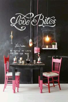 Restaurant Café Bar idea chalkboard wall handwritten Menu and Great Pink Chairs lovely Design