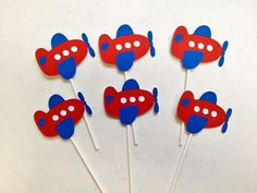 12 Airplane Cupcake Toppers, Airplane Birthday, Red White Blue Airplane