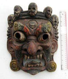 MAGNIFICENT Old Tibet Tibetan Wood Shaman Exorcism Mask Hand Carved XL