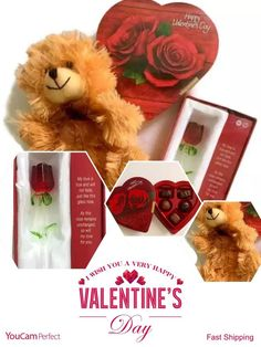 """valentines day teddy bear whit Love Poem gift for her &Red Rose &Chocolate Heart Plush Teddy Bear, cuddly and cute! (bear color varies. See photo) Valentine's Day Gift Chocolate Heart assorted soft chocolates by Elmer, since 1855 Red Rose 'Forever Rose' with Beautifully Written Poem. Say """"I Love You"""" with a rose that will never die! Beautiful love poem included with satin-lined gift box. Gift wrapped in Heart decorated paper, ready for giving. Be sure to choose g..."""