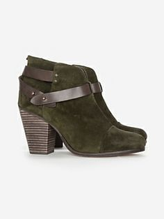 "Today's So Shoe Me is the Harrow Booties by Rag & Bone, $495, available at Intermix. Forest green and rich chocolate brown make for a neutral colorway that's a bit unexpected but just as versatile as your little black boot. The super soft suede keeps things casual and the 3.5"" block wood heels kicks it up a few notches."