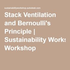 Stack Ventilation and Bernoulli's Principle | Sustainability Workshop