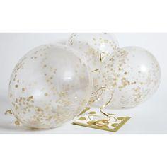 Konfettiballonger - Gull 6pk | Konfettiballong | festogmoro.no Gull, Light Bulb, Gold Confetti Balloons, Balloon Bouquet, Latex, Party, Home Decor, Flowers, Bulb Lights