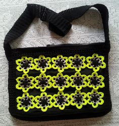 Black and Fluorescent Yellow Shoulder Crocheted Can Tab Purse with Fabric Lining and 4 pockets inside by LaBufandaLLC