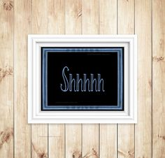 Quiet Sign Shhh Printable blue black Back to by StockLaneStudio