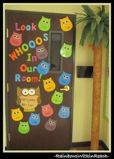 photo of: Classroom Door on Owl Theme w DIY Palm Tree via RainbowsWithinReach Owl Theme Classroom, Infant Classroom, Classroom Ideas, Toddler Classroom Decorations, Classroom Birthday Board, Kindergarten Classroom Door, Preschool Door Decorations, Infant Room Daycare, Holiday Classrooms