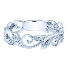 Gabriel 14K White Gold Vintage Style Stackable Floral Leaf Ring Featuring 0.09 Carat Diamonds · LR4593W44JJ · Ben Garelick Jewelers