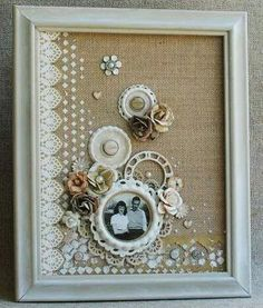 up cycle an open back frame with burlap or scrapbook glued to board. Then embellish with mixed media