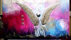 Modern Angel Paintings on canvas Angel Paintings, Original Paintings, Lava, Golden Wings, Powder Paint, Angel Art, Canvas Size, Fairies, Abstract Art