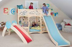 Assembling Rhapsody Play Beds Kids Bunk bed with Slide Kids by CedarWorks Toddler Bunk Beds, Girls Bunk Beds, Cool Bunk Beds, Kid Beds, Loft Beds, Bunk Bed With Slide, Bunk Beds With Stairs, Bed Slide, Furniture Sets Design