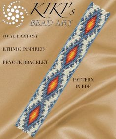 Peyote Pattern for bracelet - Ethnic inspired oval fantasy peyote bracelet pattern in PDF instant do Peyote Beading Patterns, Bead Loom Patterns, Loom Beading, Bracelet Patterns, Bead Loom Bracelets, Seed Bead Jewelry, Seed Beads, Bracelets, Loom Bracelets