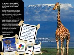 """THE ABN360 GROUP HAS CONQUERED THE WORLD OF BUSINESS AND FINANCE AND NOW WE WANT TO TAKE BUSINESS MEDIA TO NEW HEIGHTS.   All proceeds from this climb will go   towards """"Thuthuzela Aid   Community Centre"""" and   """"The ABN Education Trust"""".    www.abn360.com    TO GET INVOLVED:  Email: kilimanjaro@abn360.com  Call: David or Alexander  011 384 0300"""