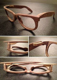 Glasses shaped out of a solid piece of Nut wood. Cool Glasses, Glasses Frames, Wooden Sunglasses, Mens Sunglasses, 3d Cnc, Wooden Jewelry, Leather Accessories, Eyewear, Wood Wood