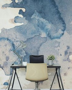 Ink Spill Textured Wallpaper Mural Major desk envy with this watercolour wall mural. Perfect for a creative studio or office space looking for a completely unique accent wall. Interior And Exterior, Interior Design, Country Interior, Watercolor Walls, Watercolor Wallpaper, Textured Wallpaper, Wall Wallpaper, Bedroom Wallpaper, Wallpaper Ideas