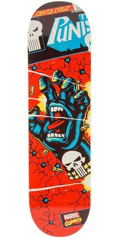 "Santa Cruz X Marvel Punisher Hand Skateboard Deck - 8.375"""