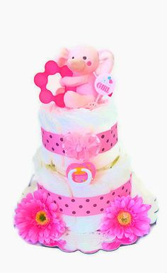 Pink Elephant Diaper Cake Elephant Diaper Cake by BabyShowerBakery