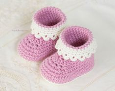 Hopeful Honey   Craft, Crochet, Create: Pink Lady Baby Booties - Free Crochet Pattern, #haken, gratis patroon (Engels), baby, sloffen met randje, kraamcadeau, #haakpatroon #crochet