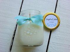 Soy Candle Jam Jar Wedding Favour by MYMIMISTAR on Etsy