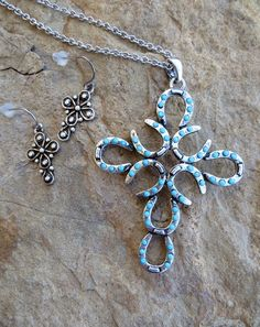 Cowgirl Bling Gypsy Boho Western  Cross HorseshoeTurquoise Necklace set #Unbranded