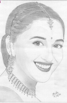 A really superb Madhuri Dixit pencil sketch. Pencil Sketch Portrait, Pencil Sketch Drawing, Girl Drawing Sketches, Girly Drawings, Art Drawings For Kids, Art Drawings Sketches Simple, Pencil Art Drawings, Pencil Sketches Easy, Beautiful Sketches