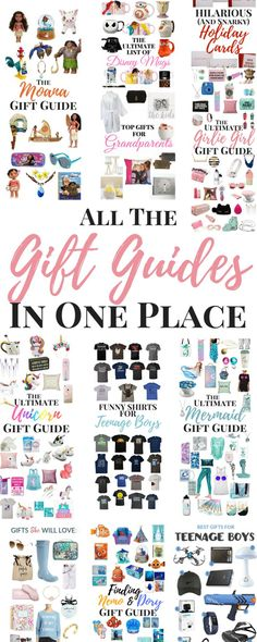 Gift Guides in one place- Gifts for Him Gift for Her Gifts for Baby Gifts for Toddler gift ideas for couples travel gifts Disney gifts gift ideas for him and her they're all in here. Check them out. Gifts For Teens, Gifts For Him, Gift Guide For Him, Holiday Gift Guide, Holiday Gifts, 2018 Christmas Gifts, Family Christmas, Merry Christmas, Moana Gifts