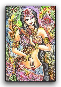 Kuan Yin  Little Goddess  Art Print Mounted on Wood by evitaworks, $17.00