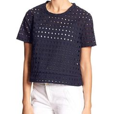 Banana Republic Navy Eyelet Top Cute navy eyelet pullover top from Banana Republic. Pulls over head, no zipper or buttons. 100% cotton. Machine wash cold, tumble dry low. Length from should to bottom hem is 20.5 inches. No trades or Paypal please. NWT Banana Republic Tops