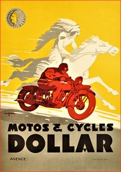 Motos and Cycles Dollar poster France - Vintage Posters Reproductions. French poster features a man riding on a red motorcycle and native american in feather headdress on a white horse in a background. Red Motorcycle, Motorcycle Posters, Car Posters, Motorcycle Design, Buy Classic Cars, Classic Bikes, Art Moto, Bike Poster, Cult