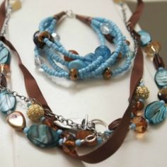 Combine Turquoise and Toffee colored beads, chain, and ribbon to make a coordinated necklace and bracelet perfect for Summer.  via The Answer is Chocolate