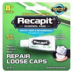 Recapit Loose Cap Dental Repair - 8 Repairs, Pack of 3 A unique, no mix cement made especially for replacing loose caps and crowns. Teeth Implants, Dental Implants, Dental Surgery, Dental Bonding, Emergency Dental Care, Dental Bridge, Dental Crowns, 6 Pack, Dental Hygienist