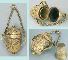Image detail for -Antique Gilded Chatelaine Thimble Holder w/ Cupids or Angels * English ...