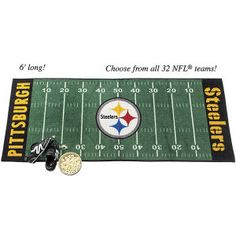 """Pittsburgh Steelers NFL Field Mat - Touchdown! These unique runners are sure winners in TV or rec room, hallway, youth bedroom, or office-anywhere football fans prefer. They come colorfully decorated with the name and logo of your favorite NFL® team. The design is chromo jet-printed for long-lasting, durable color. Plush nylon with nonskid latex back. Machine washable. Imported. 30"""" x 72""""."""