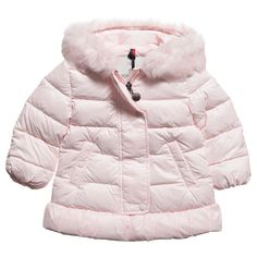 Graziella Baby Girls Pale Grey Frill Trim Padded Coat With ...