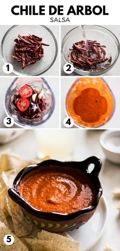 Chile de Arbol Salsa - Isabel Eats {Easy Mexican Recipes} Made with only 5 ingredients, this Chile de Arbol Salsa is the perfect taco salsa. It's spicy, goes well with Mexican favorites like tacos, tostadas and gorditas and is even freezer friendly! Authentic Mexican Recipes, Mexican Salsa Recipes, Mexican Dishes, Gorditas Recipe Mexican, Mexican Appetizers, Salsa Picante, Spicy Salsa, Red Salsa Recipe, Chile Recipe