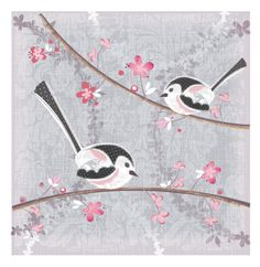 Long tailed tits. Art work. by Claire Sewell