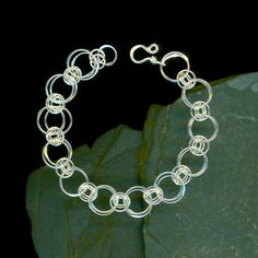 Chainmaille Bracelet, Silver Chain, Sterling Bracelet, Hammered Silver, Chain Bracelet, Wire Jewelry, Chainmaille Sterling Silver Bracelet