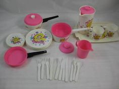 Barbie (80s or early 90s) Kitchen Accessories Toy Set. Made from hard plastic by Chilton Globe USA.     http://www.ebay.com.au/itm/BARBIE-DOLL-VINTAGE-CHILTON-GLOBE-KITCHEN-TOY-SET-USA-/160504127036?pt=AU_Dolls&hash=item255eca9e3c