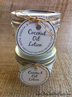 Homemade coconut oil lotion recipe.  Only two ingredients.  Love this stuff!