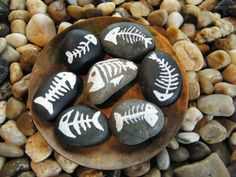 Fish Skeleton Set / Fish Bones / Painted Rock by PonderingPebbles