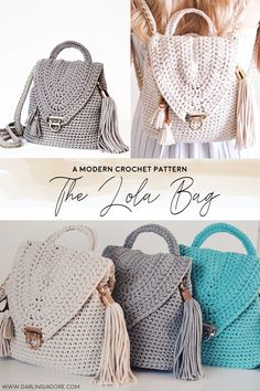 #crochet a backpack purse with this easy crochet #pattern by #darlingjadore for the #lolabag | #crochetbackpack #crochetpattern #crochetpatterns #easycrochetpatterns #crochetpurse #crochettote #crochetpursepattern #crochetfashion #crochetbag #crochetbagpattern #lolabag #easycrochet #beginnercrochet #crochetblog