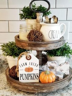 Thank you all so much for all the love on the new Fall signs! Y'all are the sweetest. This cutie Farm Fresh Pumpkins Tag is a newbie to our… Rustic Kitchen Decor, Rustic Decor, Farmhouse Decor, Farmhouse Style, Kitchen Ideas, Country Style, Kitchen Tray, French Country, Kitchen Designs