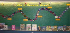 """Set a Record - Read!"" library book bulletin board display"