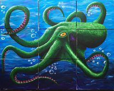 Octopus painting. A large green octopus drifts effortlessly through a vivid blue ocean.