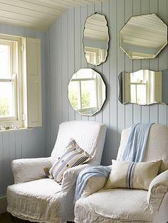 shabby chic hallway - Home Interior Design Ideas Cottage Shabby Chic, Cottage Style, Coastal Cottage, Coastal Living, Style At Home, Shabby Chic Hallway, Vintage Mirrors, Rustic Mirrors, Interior Exterior
