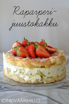 Inkiväärihillo: Raparperijuustokakku Sweet Desserts, Sweet Recipes, Delicious Desserts, Yummy Food, Baking Recipes, Cake Recipes, Dessert Recipes, Mini Fruit Tarts, Different Cakes