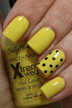 grape fizz nails - Sally Hansen Mellow Yellow and the polka dots are Wet and Wild Black Creme