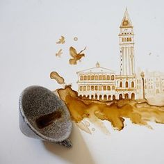 Creative Paintings With Coffee by Giulia Bernardelli - Coffee Icon - Ideas of Coffee Icon - Creative Paintings With Coffee by Giulia Bernardelli Coffee Artwork, Coffee Painting, Art Cafe, Coffee Icon, Art Aquarelle, Arts And Crafts House, Coffee Drawing, Tea Art, Latte Art